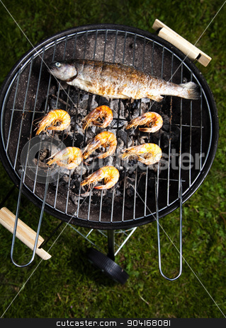 Grilling fish, bright colorful vivid theme stock photo, Grilling fish, bright colorful vivid theme by Sebastian Duda