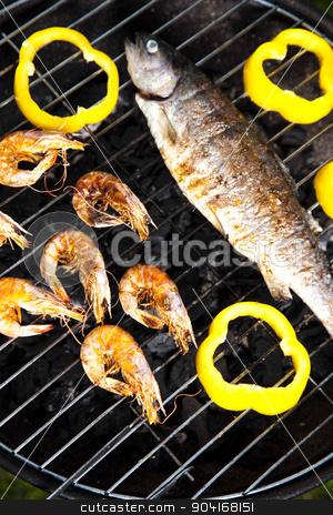 Grilling fish, bright colorful vivid theme stock photo, Grilling fish, bright colorful vivid theme by Sebastian Duda