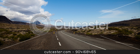 Scenic road on Iceland, bright colorful vivid theme stock photo, Scenic road on Iceland, bright colorful vivid theme by Sebastian Duda