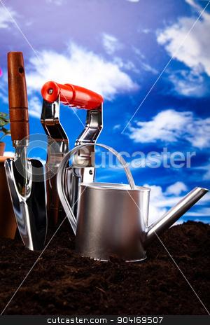 Garden tools concept, vivid bright springtime stock photo, Garden tools concept, vivid bright springtime by Sebastian Duda