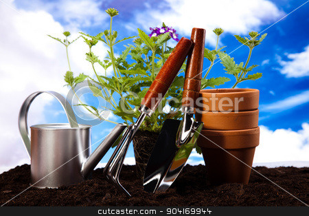 Garden Tools, vivid bright springtime concept stock photo, Garden Tools, vivid bright springtime concept by Sebastian Duda