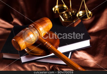 Judges wooden gavel and law Scales stock photo, Judges wooden gavel and law Scales by Sebastian Duda