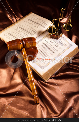 Scales of justice, gavel and law book stock photo, Scales of justice, gavel and law book by Sebastian Duda