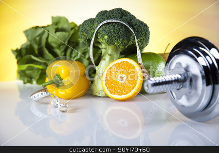 Vegetable and fruit fitness stock photo, Dumbbells, fresh food and measure tape by Sebastian Duda