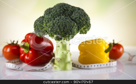 Fitness food stock photo, Vegetable and fruit fitness, sunset by Sebastian Duda