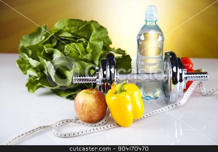 Fitness food stock photo, Dumbbells, fresh food and measure tape by Sebastian Duda