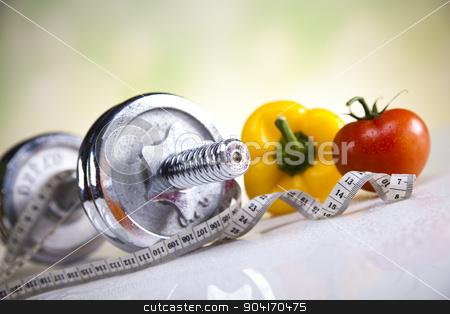 Vegetable and fruit fitness stock photo, Dumbbells, fresh food and measure tape by Sebastian Duda