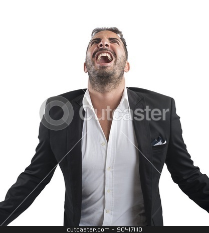 Anxious businessman screams stock photo, Anxious businessman stressed out from work screams by Federico Caputo