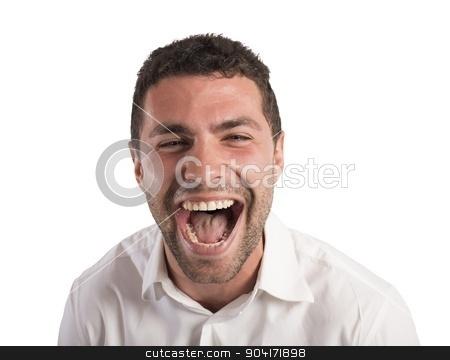 Desperate businessman screams stock photo, Desperate businessman stressed out from work screams by Federico Caputo