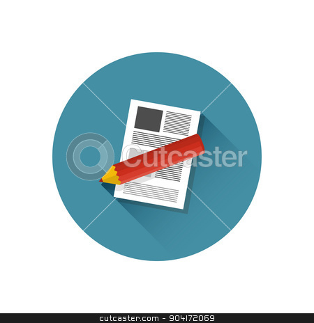 Paper sheet and pencil stock vector clipart, Modern flat vector icon, illustration of paper sheet and pencil in stylish retro colors. Notebook and pencil icon with long shadow.Isolated on white background. For web design and applications by helllbilly