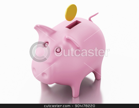 3d piggy bank with golden coins stock photo, Piggy bank with golden coins on white background. 3d renderer image.  by nicolas menijes