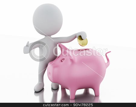 3d white people with piggy bank stock photo, white people with Piggy bank. Isolated white background. 3d renderer image.  by nicolas menijes
