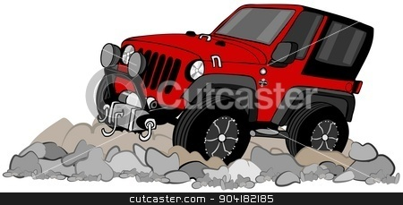 Red SUV climbing in rocks stock photo, This illustration depicts a red 4X4 SUV driving on a rocky road. by Dennis Cox