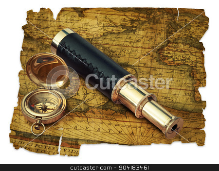 Vintage travel objects stock photo, traveling theme: vintage telescope and compass at antique (17 century) map over white by Sergej Razvodovskij