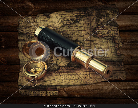 Vintage travel objects stock photo, traveling theme: vintage telescope and compass at antique (17 century) map at wooden background by Sergej Razvodovskij