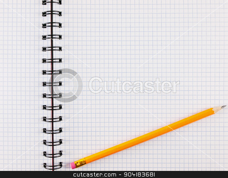 sheet in a cage with pencil stock photo, Opened notepad notebook pencil over it by Sergej Razvodovskij