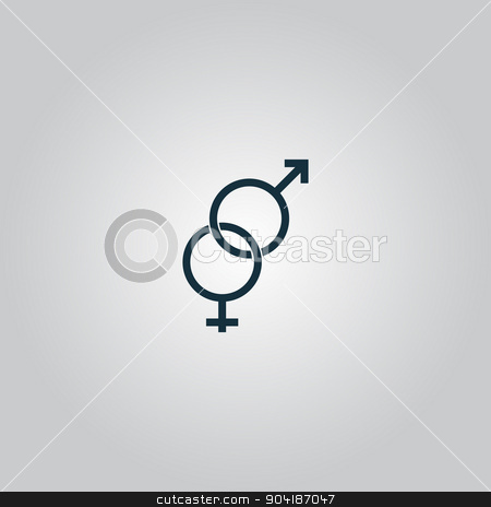 Twisted male and female sex symbol stock vector clipart, Twisted male and female sex symbol. Flat web icon or sign isolated on grey background. Collection modern trend concept design style vector illustration symbol by Liudmila Marykon