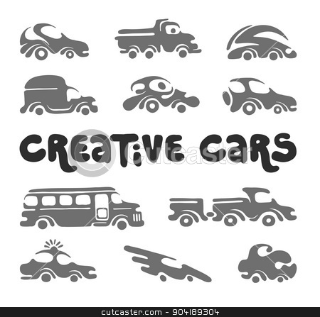 Creative cars design elements. stock vector clipart, Creative cars design elements, artistic original silhouettes for different projects by Firin
