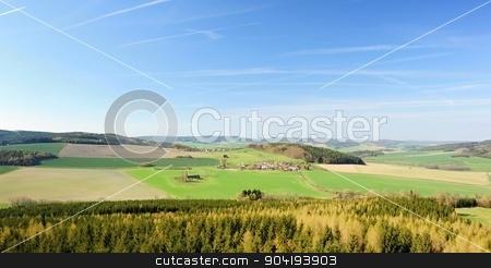Beautiful spring landscape stock photo, Beautiful spring landscape with forest, meadow and sky by Ondrej Vladyka