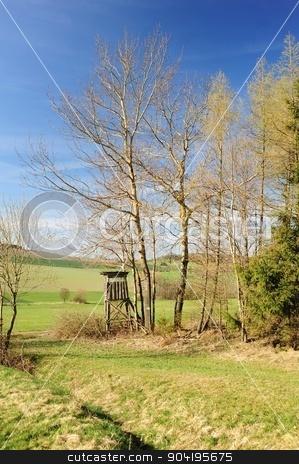 Beautiful spring landscape stock photo, Beautiful spring landscape with forest, meadow and blue sky by Ondrej Vladyka
