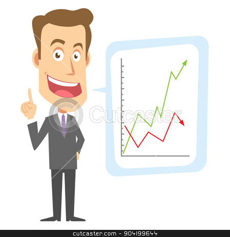 Businessman stock vector clipart, A businessman is communicating something by graphics by grafico2011