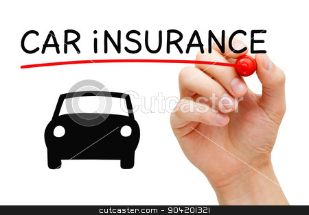 Car Insurance Concept stock photo, Hand drawing Car Insurance concept with marker on transparent wipe board. by Ivelin Radkov