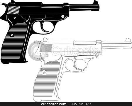 Gun Silhouette stock vector clipart, illustration of great Gun Silhouette by Ahmed Nassar