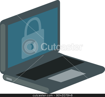 Vector illustration of a laptop with a lock on the screen. stock photo, Vector illustration of a laptop with a lock on the screen, isolated over white background.  by nicolas menijes