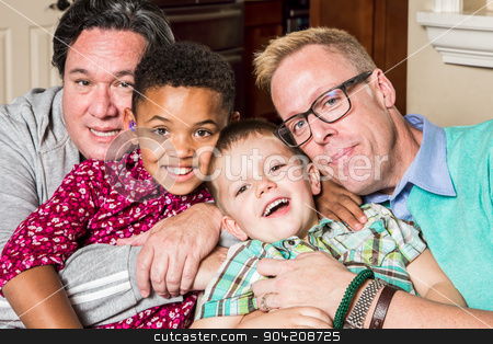 Children with Gay Parents stock photo, Gay parents and their children pose for a photo by Scott Griessel