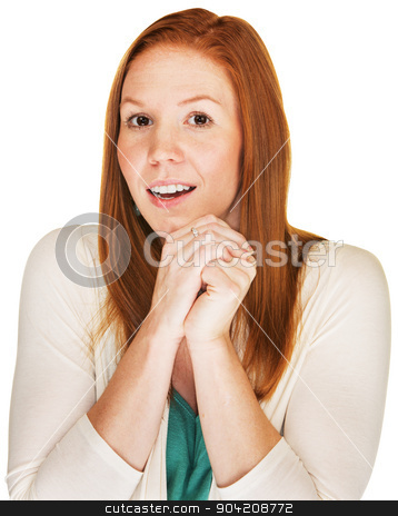 Happy Woman in Suspense stock photo, Beautiful young woman with folded hands over white background by Scott Griessel