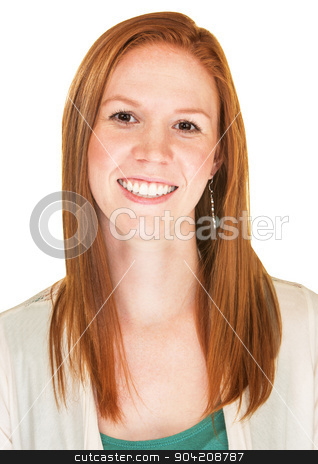 Smiling Lady stock photo, Isolated beautiful young Caucasian female with smile by Scott Griessel