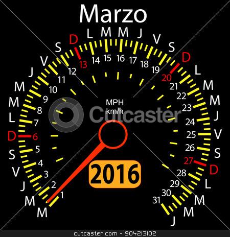 2016 year calendar speedometer car in Spanish, March. Vector ill stock vector clipart, 2016 year calendar speedometer car in Spanish, March. Vector illustration. by aarrows