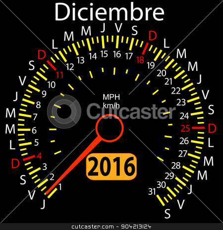 2016 year calendar speedometer car in Spanish, December. Vector  stock vector clipart, 2016 year calendar speedometer car in Spanish, December. Vector illustration. by aarrows