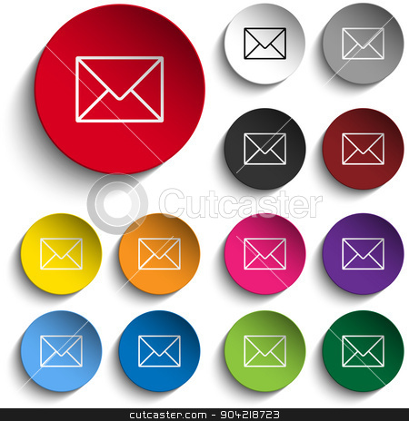 Mail Envelope Icon Circle Color Set stock vector clipart, Vector - Mail Envelope Icon Circle Color Set by Augusto Cabral Graphiste Rennes
