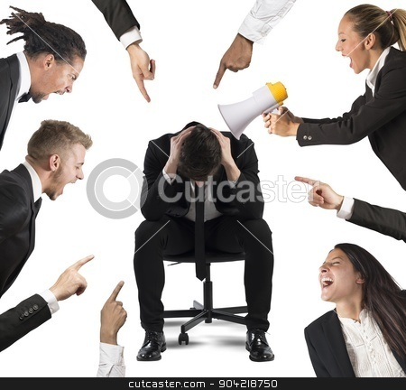 Blame at work stock photo, Businessman accused by his colleagues at work by Federico Caputo