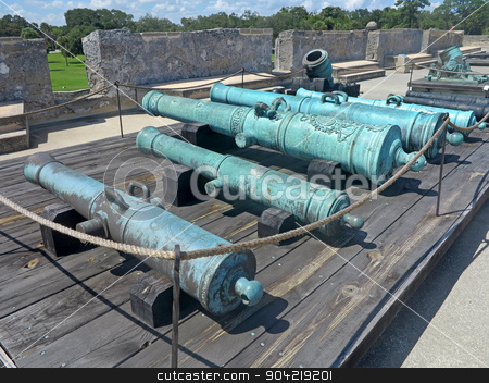Cannons stock photo, Cannons at the Castillo de San Marcos Fort in St Augustine, Florida. by Lucy Clark