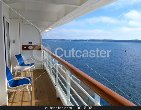 Cruise Ship View stock photo, The view of McNabs Island, Halifax, Nova Scotia, Canada from a cruise ship balcony by Lucy Clark