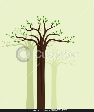 Trees 10 stock vector clipart, Vector natural background of trees with leaves by Miroslava Hlavacova