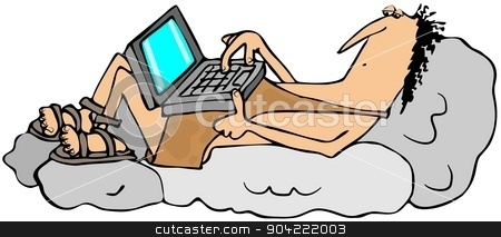 Caveman techie stock photo, This illustration depicts a caveman relaxing on boulders while using his laptop computer. by Dennis Cox