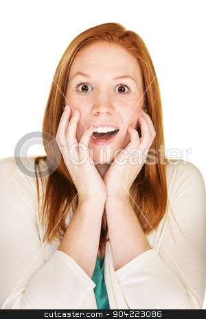 Startled Woman stock photo, Isolated startled female with hands near face by Scott Griessel