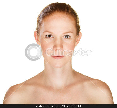 Grinning Young Woman stock photo, Isolated sensual young Caucasian female with bare shoulders by Scott Griessel
