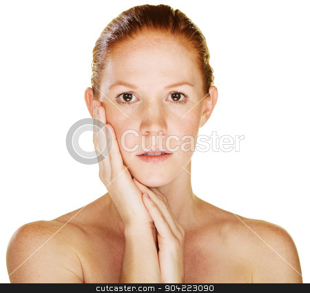 Woman with Palm on Cheek stock photo, Calm beautiful young Caucasian female with hand on cheek by Scott Griessel