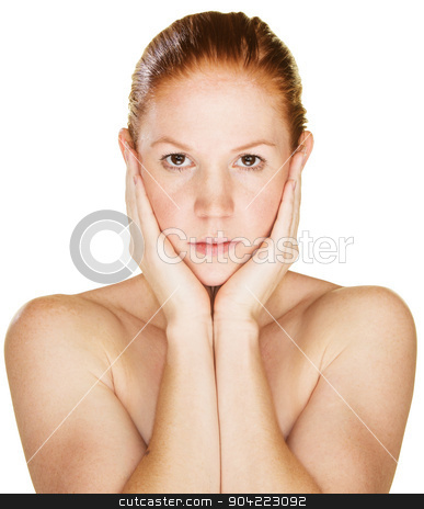 Serious Woman Holding Face stock photo, Serious woman holding face in palms over white by Scott Griessel
