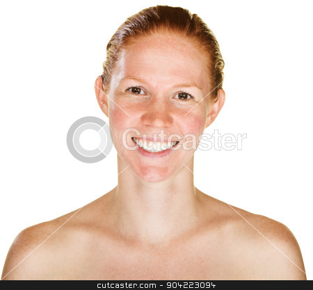 Laughing Bare Shouldered Woman stock photo, Single isolated female with red hair laughing by Scott Griessel