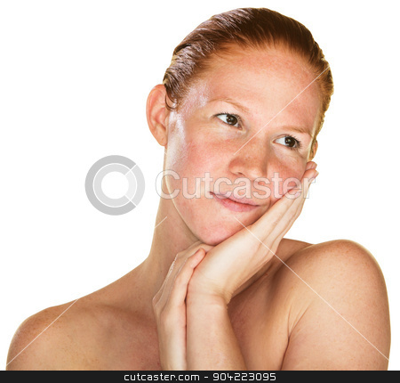 Daydreaming Woman with Bare Shoulders stock photo, Daydreaming woman with palm on cheek over white background by Scott Griessel