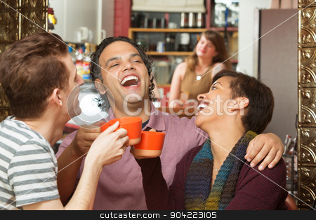 Happy Group with Coffee Cups Laughing stock photo, Happy group of three diverse adults laughing with coffee cups by Scott Griessel