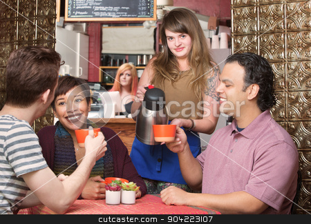 Customers Being Served Coffee stock photo, Group of happy customers being served coffee by waitress by Scott Griessel