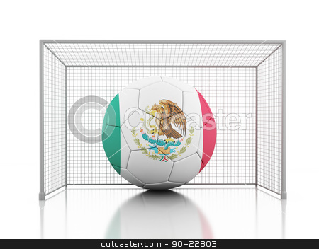 3d Soccer ball with Mexican flag  stock photo, 3d renderer image. Soccer ball with Mexican flag. Isolated white background by nicolas menijes