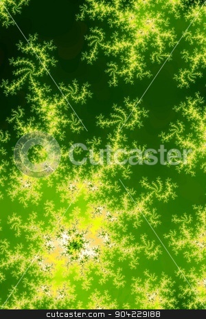 Glowing Green Fractal stock photo, Fractal background image with glowing green colors. by Henrik Lehnerer