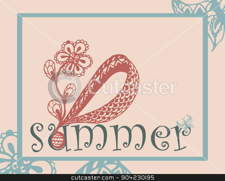 summer background stock vector clipart, summer background card  with abstract red flower by Iryna